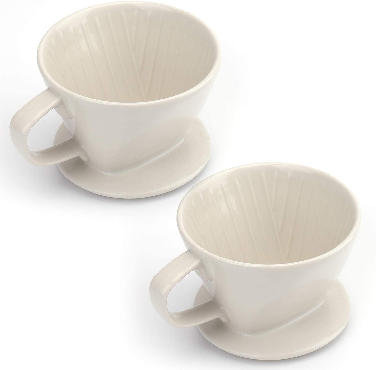 Yesland 2 Pcs Coffee Pour Over, 10 Oz Ceramic Coffee Filter Cup with 3 Holes, Reusable Brewing Coffee Dripper for Home & Office