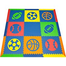 SoftTiles Sports Kids & Baby Play Mat- Football, Baseball, Basketball, Soccer Shapes- Non-Toxic Flooring For Nursery/Playroom Interlocking Foam Mat- Blue, Red, Orange, Yellow, Lime-SCSPOBROYL