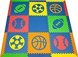 SoftTiles Sports Kids & Baby Play Mat- Football, Baseball, Basketball, Soccer Shapes- Non-Toxic Flooring For Nursery/Playroom Interlocking Foam Mat- Blue, Red, Orange, Yellow, Lime-SCSPOBROYL