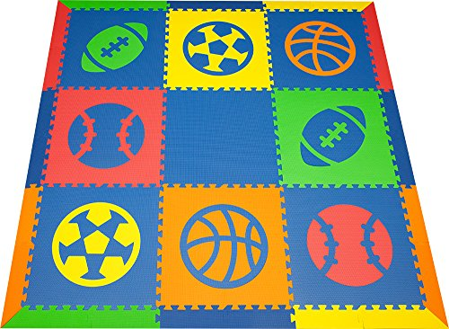 SoftTiles Sports Kids & Baby Play Mat- Football, Baseball, Basketball, Soccer Shapes- Non-Toxic Flooring For Nursery/Playroom Interlocking Foam Mat- Blue, Red, Orange, Yellow, Lime-SCSPOBROYL by SoftTiles