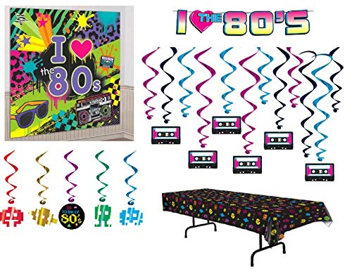 DHE Beistle I Love The 80s Theme Party Room Retro Decorations with Banner Bundle ()