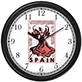 Spain Travel Poster No.2 - Flamenco Dancer - Spain Theme Wall Clock by WatchBuddy Timepieces (White Frame)