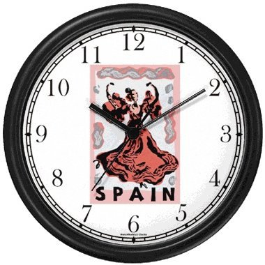 Spain Travel Poster No.2 - Flamenco Dancer - Spain Theme Wall Clock by WatchBuddy Timepieces (White Frame) by WatchBuddy