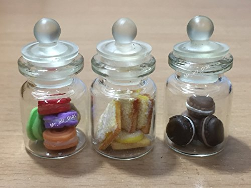 3pc Miniature Cookie Cake Food Candy Dollhouse Cake in Clear Glass Mini Bottle fruit Food (Bespaq Dollhouse Miniatures)