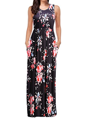 Mulysaa Womens Sleeveless Floral Print Maxi Dress Tank Top Casual Long Dresses with Pockets