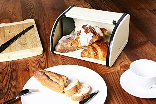 Juvale Bread Box For Kitchen Counter - Stainless Steel Bread Bin Storage Container with Roll Top Lid for Loaves, Pastries, and More - Retro/Vintage Inspired Design, Cream, 10 x 8.5 x 5.5 Inches by Juvale (Image #2)