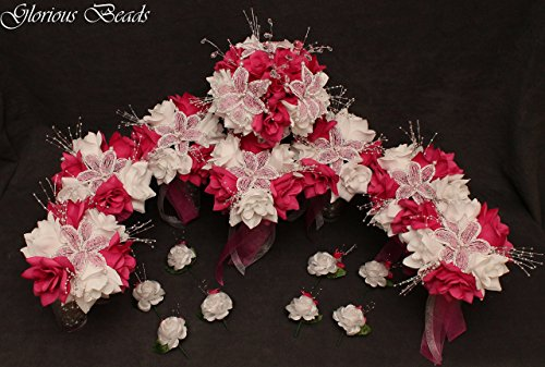 FUCHSIA HOT PINK BEADED Flower Lily Wedding / Quincenarea Bouquet 16 PC Set with FREE Boutonnieres