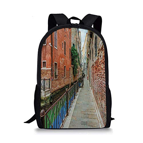 - Venice Stylish School Bag,Empty Idyllic Streets of Venezia Travel Destination Romantic Vacation Old Buildings for Boys,11''L x 5''W x 17''H