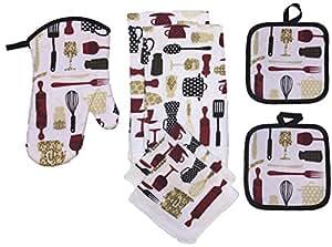 Set of 7, Kitchen Towel Set, 2 Kitchen Towel, 2 Dish Cloths, 2 Pot Holder, 1 Oven Mitt. (Utensils)