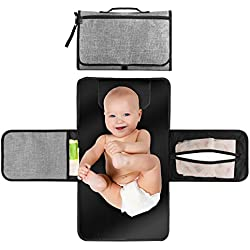 Portable Changing Station for Newborn Baby Infant - Lightweight Travel Home Diaper Changer Mat with Pockets - Waterproof & Foldable Changing Pad Kit with Head Cushion(Gray & Black)