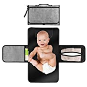 House Deluxe Portable Changing Station for Newborn Baby Infant - Lightweight Travel Home Diaper Changer Mat with Pockets - Waterproof & Foldable Changing Pad Kit with Head Cushion(Gray & Black)