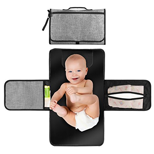 Portable Changing Station for Newborn Baby Infant - Lightweight Travel Home Diaper Changer Mat with Pockets - Waterproof & Foldable Changing Pad Kit with Head Cushion(Gray & Black) (Diapering Essentials Kit)