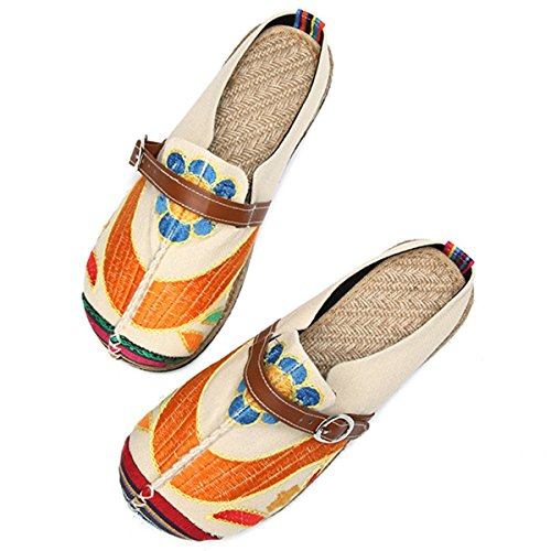 House Walking Women's Outdoor Slipers Embroidered Slippers Beige Tezoo Breathable Colorful Walking 87gwwxqd