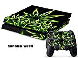 Eddie Internatioanl (TM) PS4 Console Designer Skin for Sony Playstation 4 Console System Plus Two (2) Decals For: PS4 Dualshock Controller - Canabis Weed