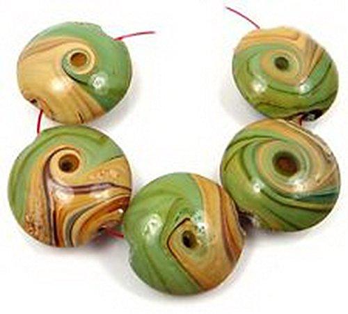 Glamorise Beads #13467 Lampwork Handmade Glass green Swirls Lentil Beads 25mm