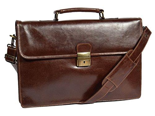 Leather Briefcase Slimline Organiser Laptop Executive Bag HOL7141 Brown