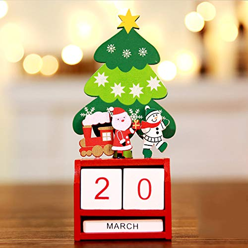 Crafts Christmas Advent (Tuscom Cute Cartoon Christmas Mini Wooden Calendar Xmas Ornament,19 x 8 cm Party Holiday Home Decoration Craft Gift (A))