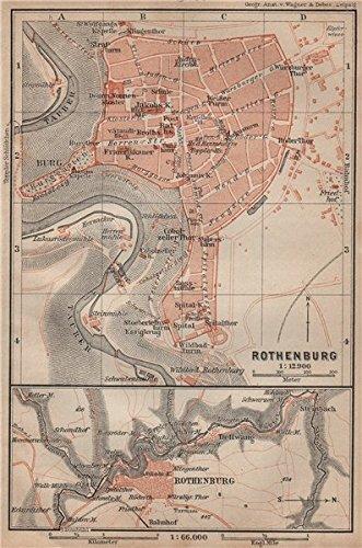 rothenburg ob der tauber town city stadtplan bavaria deutschland 1902 old map