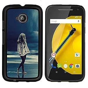 YiPhone /// Prima de resorte delgada de la cubierta del caso de Shell Armor - Chica Rain Blue Ocean Piernas Noche - Motorola Moto E2 E2nd Gen