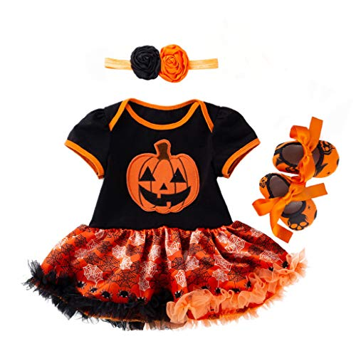 Jack O'Lantern Baby Girl Outfit,Crytech Toddler Newborn Short Sleeve Pumpkin Skull Print Romper Jumpsuit Tutu Tulle Skirt Dress with Bow Headband for Halloween Costume Clothes (0-3 Months, 3 Pcs)