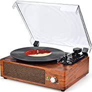 Record Player Turntable Vinyl Record Player with Speakers Turntables for Vinyl Records 3 Speed Belt Driven Vin