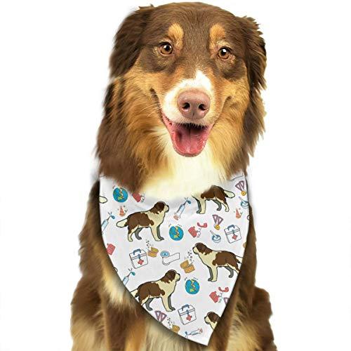 Saint Bernard Dog Nurse Medical Art Bandana Triangle Bibs Scarfs Accessories For Pet Cats And -