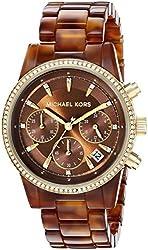 Michael Kors Women's MK6279 Ritz Stainless Steel Watch With Brown Resin Bracelet