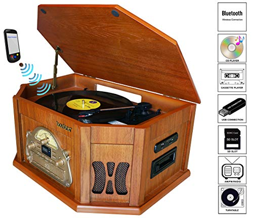 Boytone BT-25WB 8-in-1 Natural Wood Classic Turntable Stereo System with Bluetooth Connection, Vinyl Record Player, AM/FM, CD, Cassette, USB, SD Slot. 2 Built-in Speakers, Remote Control, MP3 Player