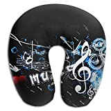 U Shaped Travel Pillow Black Style Poster Musical Notes Memory Foam Soft Neck Portable Pillow For Flight Train Car And Office Naps Bed Pillows
