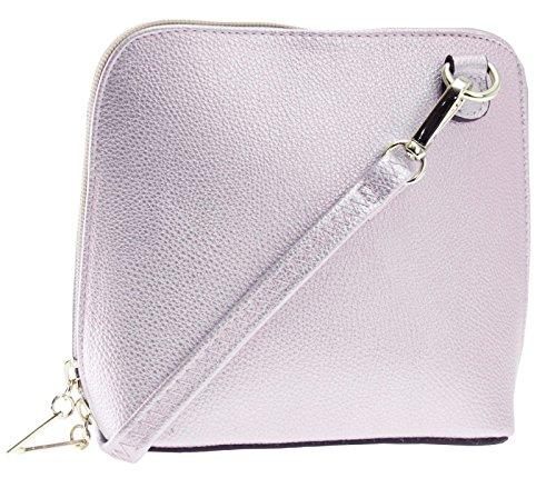 Big Handbag Shop Womens Vegan Leather Mini Little Cross Body Messenger Shoulder Bag (Metallic - Baby Pink)