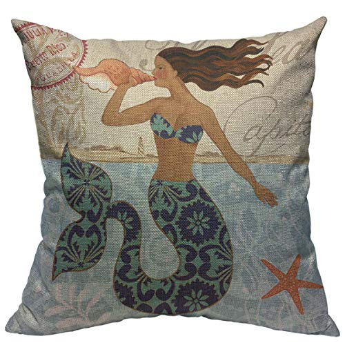 "oFloral Mermaid Pillow Cover Starfish Sea Fairy Tale Decorative Pillow Case Square Cotton Linen Cushion Cover Home Decor for Sofa Chain Bedroom Living Room 18""X18"" Pillowcase"