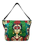 SpiritStar Sugar Skull Purse: Day of the Dead Inspired Daily Travel Bag Made with 100% Cotton (La Pintora)