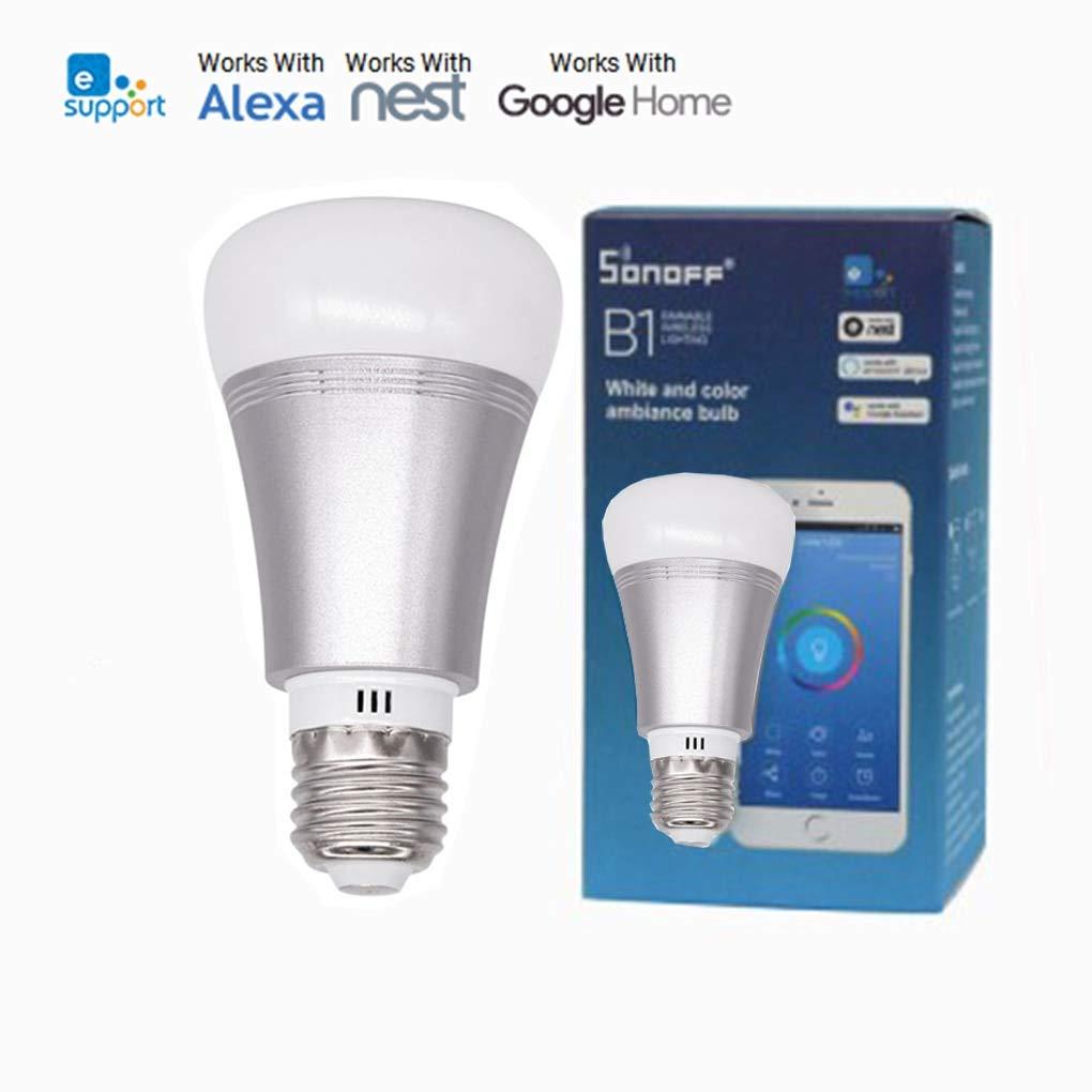 sonoff 6/W E27/Smart LED WiFi LED luz regulable pilotable App compatible con Alexa y Google Home. hasta 16/millones de colores