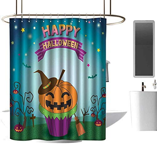 homecoco Shower stall Curtains Halloween pimpkin Cupcakes Non Toxic Shower Curtain W72 x -