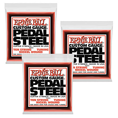 (3 PACK Ernie Ball Pedal Steel Nickel Wound 10-String Set, E9 Tuning, P02502)