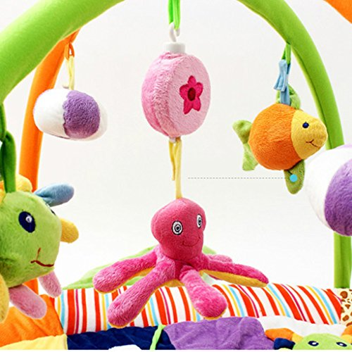 Dovewill Baby Musical Sensory Play Mat Animals Soft Cotton Play Gym - Fish, as described by Dovewill (Image #4)