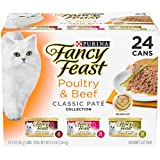 Purina Fancy Feast Grain Free Pate Wet Cat Food Variety Pack, Poultry & Beef Collection - (24) 3 oz. Cans Larger Image