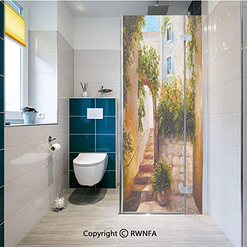 Window Door Sticker Glass Film,Stone Street Gate in an Old Town with Blooming Flowers Oil Painting Anti UV Heat Control Privacy Kitchen Curtains for Glass, 17.7 x 47.2 inch,Dark Orange Dark Green