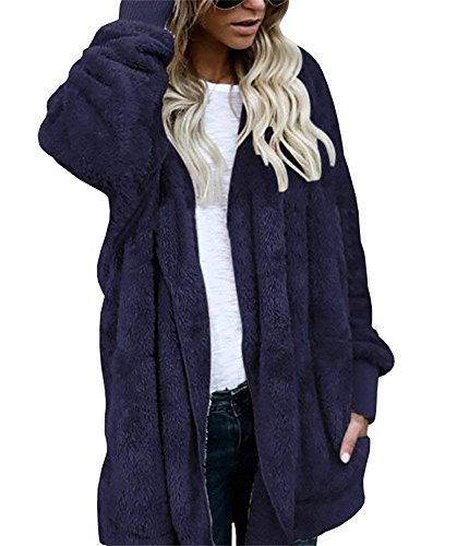YOMISOY Womens Long Cardigans Open Front Hooded Casual Fleece Sherpa Jacket Coat with (Long Fleece Coats)