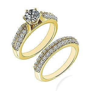 1.95 Carat G-H I2-I3 Diamond Engagement Wedding Anniversary Halo Bridal Ring Set 14K Yellow Gold