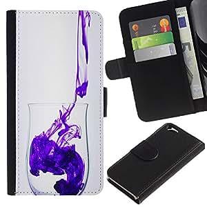 Billetera de Cuero Caso del tirón Titular de la tarjeta Carcasa Funda del zurriago para Apple Iphone 6 4.7 / Business Style Minimalist Clean Purple Design