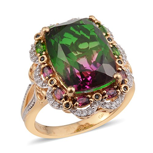 Lab Created Watermelon Quartz, Multi Gemstone 14K Yellow Gold Plated Silver Ring 10.25 cttw. Size (14k Multi Gem Ring)