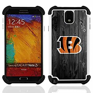 GIFT CHOICE / Defensor Cubierta de protección completa Flexible TPU Silicona + Duro PC Estuche protector Cáscara Funda Caso / Combo Case for Samsung Galaxy Note 3 III N9000 N9002 N9005 // Cincinnati Bengal Football //
