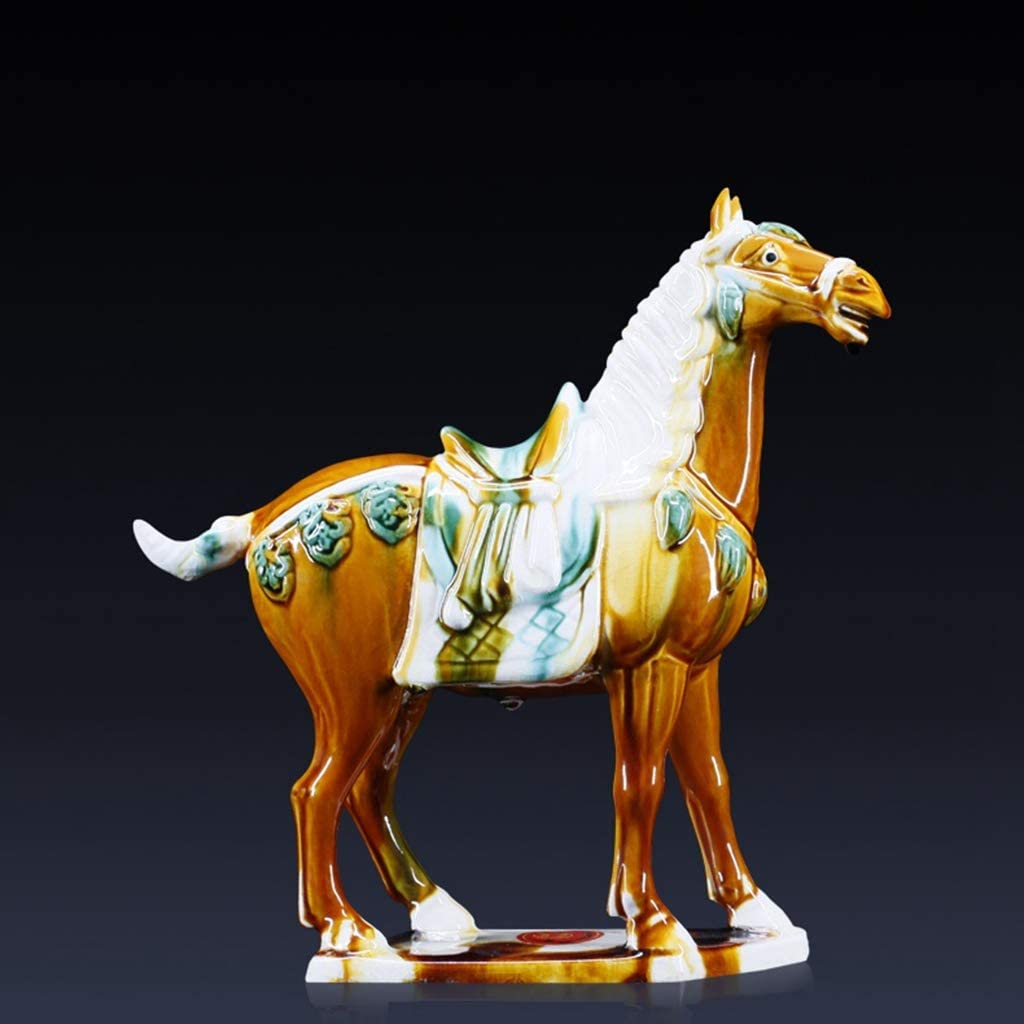 FAE&MGJ Escultura Silla de Caballo de Porcelana Antigua Estatua de cerámica arqueada Cargador de Caballo Escultura Obra de Arte Ornamento decoración Artesanal