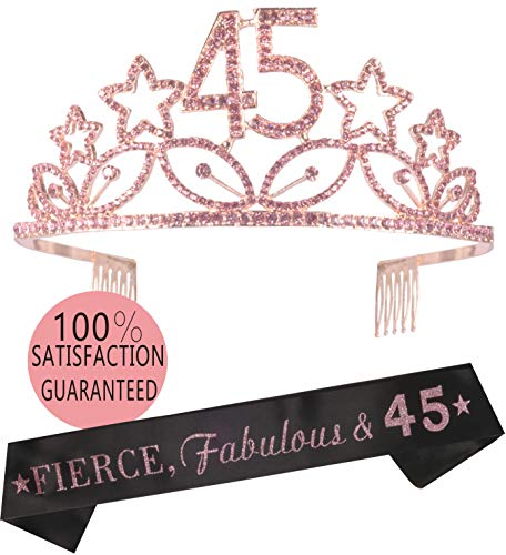 45th Birthday Tiara and Sash, Happy 45th Birthday Party Supplies, 45 & Fabulous Black Glitter Satin Sash and Crystal Tiara Birthday Crown for 45th Birthday Party Supplies and Decorations (Pink)...