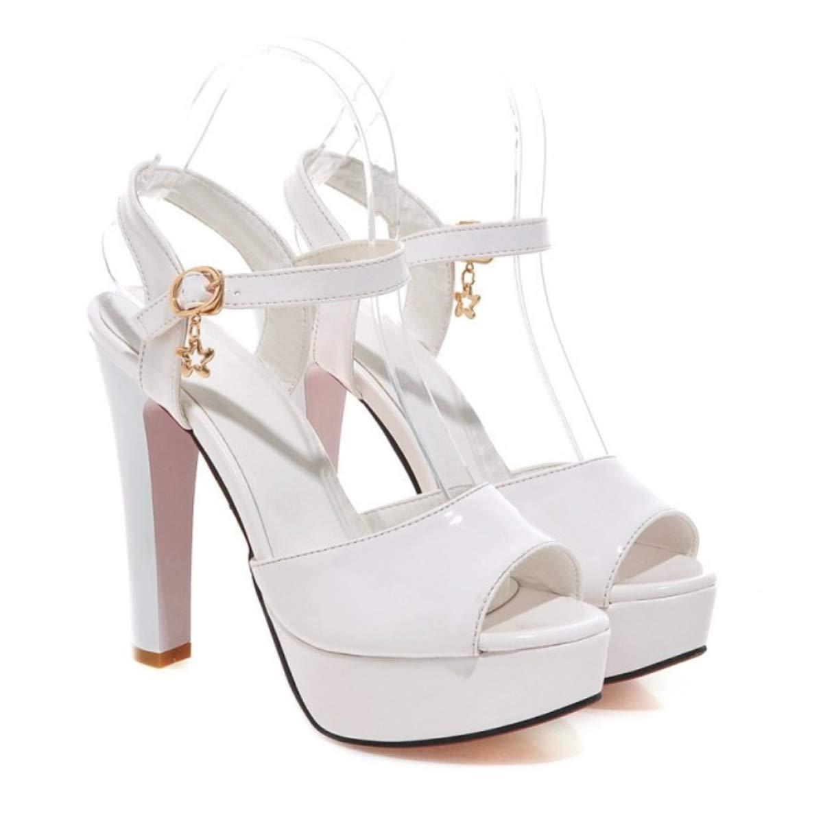 HBDLH Damenschuhe/Im Sommer 12Cm High Heels Modische Schuhe Schuhe und Sandaleen Fisch Im Mund Süße.