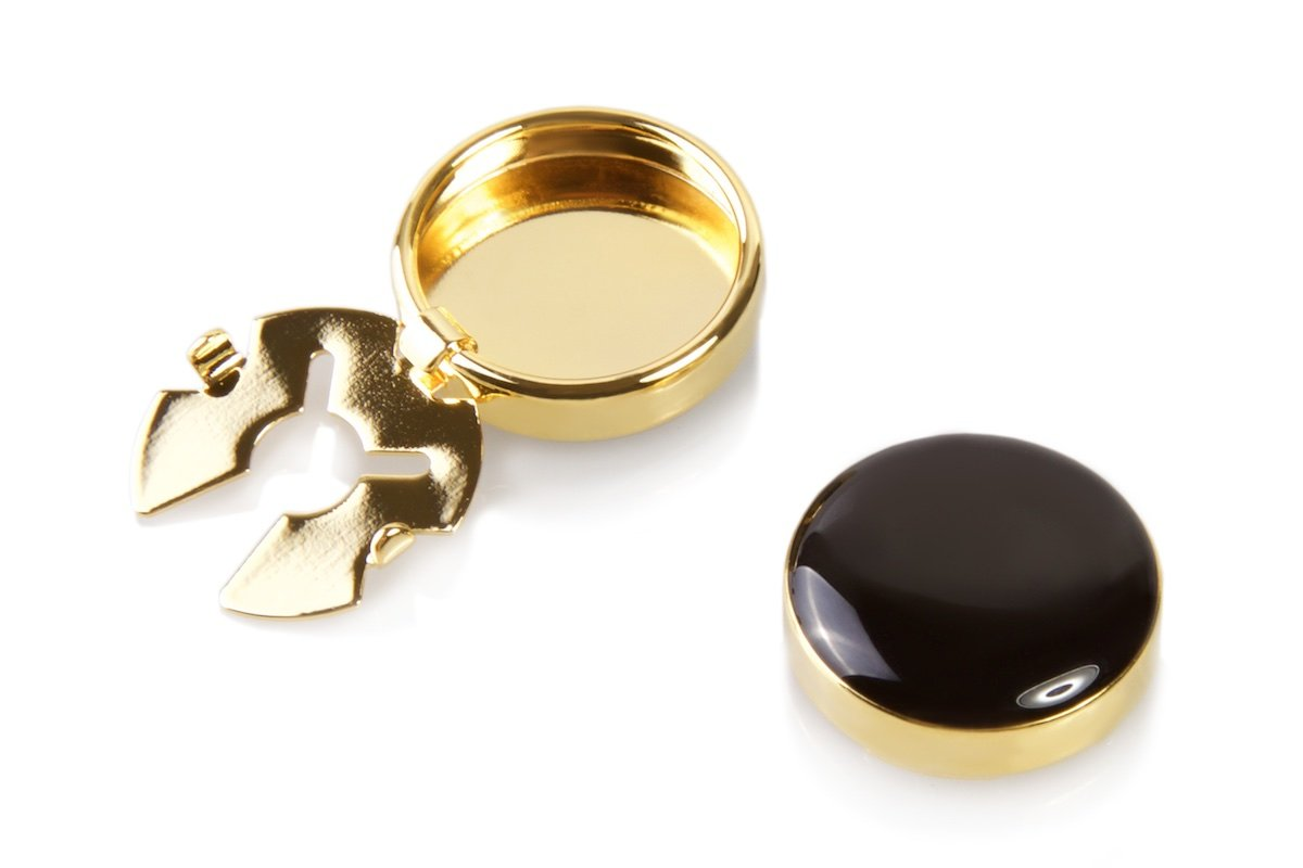 Black & Gold Button Covers - Cuff Link Alternative for Shirts, Cuffs and Collars (G-bla US)