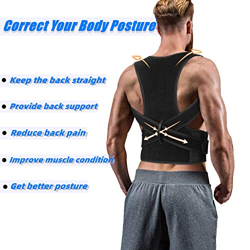 Back Brace Posture Corrector for Women Men - Back Lumbar Adjustable Support Shoulder Posture Support for Improve Posture Provide and Back Pain Relief - for Lower and Upper Back Pain XL(37''-42'')