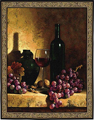 Wine Bottle with Grapes and Walnuts by Loran Speck | Woven Tapestry Wall Art Hanging | Vintage Wine Ensemble Still Life | 100% Cotton USA Size 59x53