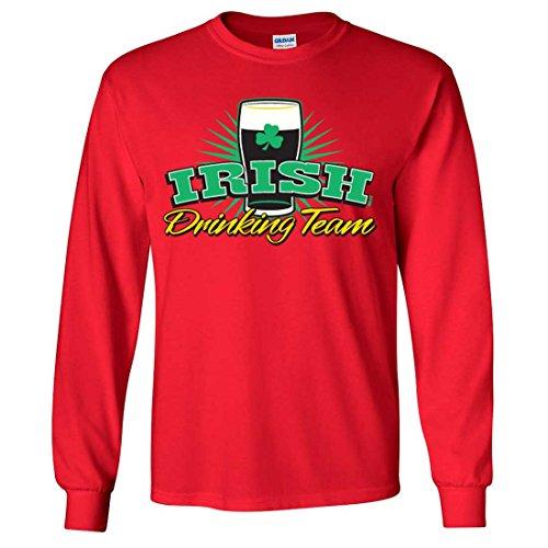 Irish Drinking Team Stout Long Sleeve Shirt - Red Large